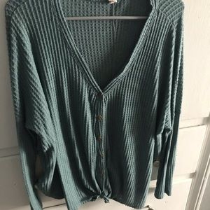 Green oversized button down v-neck sweater